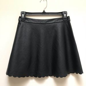 Club Monaco Faux Leather Scalloped Hem Mini Skirt